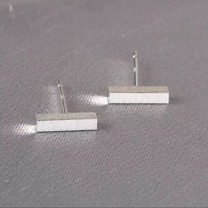 Sterling Silver Minimalist Bar Earrings New